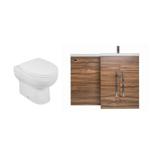 Calm Walnut Right Hand Combination Vanity Unit Basin L Shape with Back to Wall Lima Toilet & Soft Close Seat & Concealed Cistern