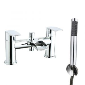 Suva Modern Waterfall Bath Shower Mixer Tap with Hand Shower - Chrome