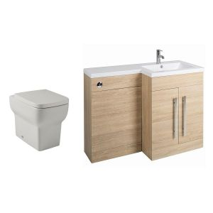 Calm Oak Right Hand Combination Vanity Unit Basin L Shape with Back to Wall Kartell Korsika Toilet & Soft Close Seat & Concealed Cistern