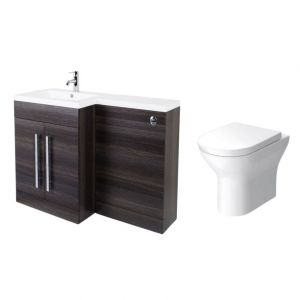 Calm Grey Left Hand Combination Vanity Unit with Fresh Curved II Toilet