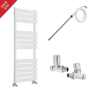 Juva 1200 x 500mm Electric Manual White Flat Panel Heated Towel Rail - Includes Straight Valves