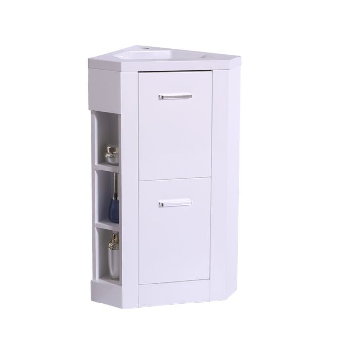 Bathroom Vanity Corner Unit Floor Standing Compact Sink Cabinet Storage Furniture Gloss White