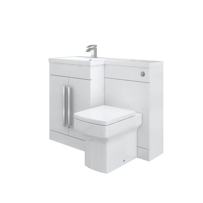 Designer Left Hand White Combination Bathroom Vanity Unit With Basin Back To Wall Toilet