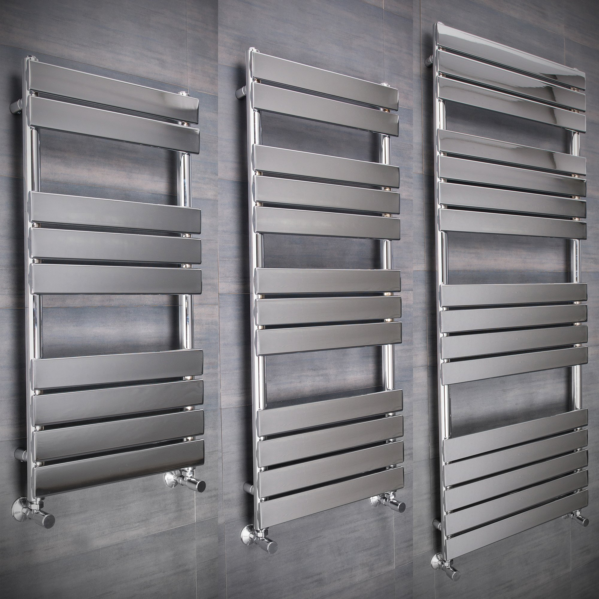 Electric Towel Rails: Flat Designer Thermostatic Electric Heating Heated